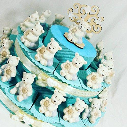 Torta portabomboniera con orsetti in ceramica e profumatore per battesimo nascita di bambino (torta da 28 fette)