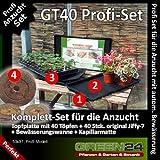 GT40 Anzucht-Set PROFI - 40 Jiffy-7 Torf-Quelltöpfe + 40er Topfplatte + Wanne mit Kapillarmatte, Komplettset für Saatgut und Stecklinge mit autom. Bewässerung