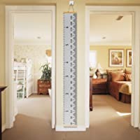"OFNMY Hanging Height Growth Chart Wood Frame Fabric Canvas Wall Height Chart from Birth to Adult Room Decor - 79"" x 7.9""(Gray)"