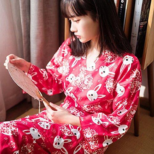 Und Bunny Cosplay Kostüm Tiger - SED Cherry Blossom Bunny Japanische Kimono Pyjamas Zwei Anzug Cardigan Hause Service,Rot,L