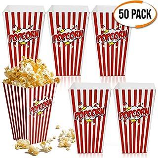matana 50 Popcornboxen - Dauerhafte Popcorntüten - Retro, Rot-Weiß Gestreift Partytüten für Leckereien und Süßigkeiten - Perfekt für Geburtstagsfeiern, Filmabend, Karneval, Hochzeiten.