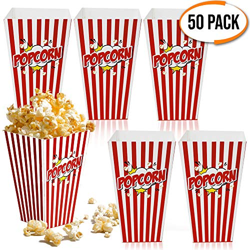 50 Bolsas Palomitas - Cajas de Palomitas, Popcorn Boxes - Cartones de Palomitas Retro  Cumpleaños, Película, Cine, Carnaval, Bodas, Bolsos de Fiesta Caramelos, Chuches, Decoracion, Favores de Fiesta