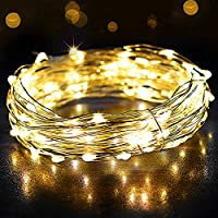Fairy Lights, OMERIL 12m/39ft 120 LEDs String Lights USB Plug in Powered, IP65 Waterproof Warm White Firefly Lights for Xmas, Party, Bedroom, Wedding, Indoor/Outdoor -Silver Wire