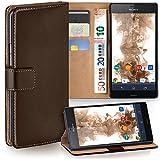 moex Sony Xperia Z3 Compact | Hülle Dunkel-Braun mit Karten-Fach 360° Book Klapp-Hülle Handytasche Kunst-Leder Handyhülle für Sony Xperia Z3 Compact / Z3 Mini Case Flip Cover Schutzhülle Tasche
