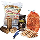 COMPLETE FIRE PIT CHIMINEA PACK - X5 Large Wood Heat Fuel Logs, 3kg Kindling + Eco FireLighters + Flexible Long Reach Lighter - Comes With TheChemicalHut® Anti-Bac Pen!