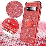 Saceebe Compatible avec Samsung Galaxy S10 Coque Transparente Glitter Bling Paillette Diamant Brillant Strass Housse Silicone TPU Etui avec Anneau Support Bague Anti-Choc,Rouge