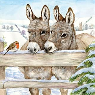 Ambiente Christmas Napkin 33cm Donkeys at the Gate with Robin Serviettes