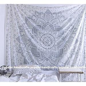 raajsee Indisch Psychedelic Wandteppich Mandala Silber Grau/Mehrfarbige Bohemian Indischer Wandbehang/Indien Elefant…