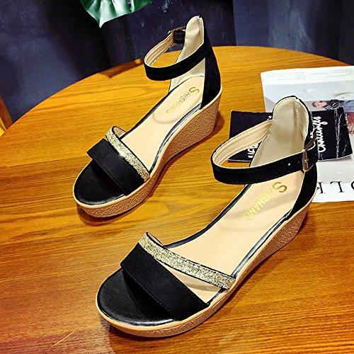 RUGAI-UE Donne sandali estivi piatto scarpe da donna Black