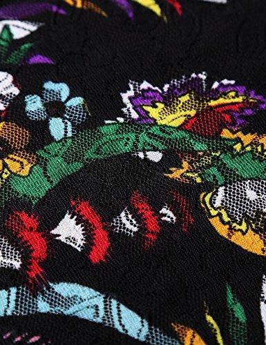 Jubby Femme T-Shirt Imprime Fleur en Dentelles Noir-imprime#t04