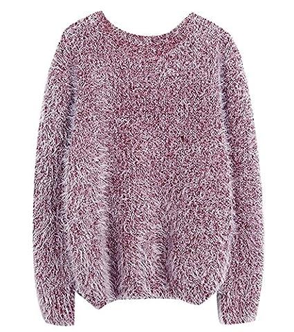 5 ALL Damen Sweater Strickwaren Mohair Beiläufige Rundhals Langarm Lose Pullover Bluse Oberteile Oversizes Tops Sweatshirt