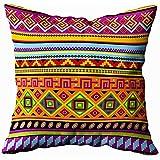 jonycm Pillowcase Sfondo con Ornamento Messicano Federa Viaggi Cuscino Cuscino Federa Divano Decorazioni per La Casa 45X45Cm