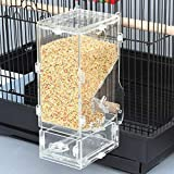 XMSSIT Vogelfutterstation für Papageien, integrierter automatischer Futterspender mit Sitzstange, Zubehör für Wellensittiche, Kanarienvögel, Nymphensittiche, Finken, Sittiche, Samenfutterbehälter