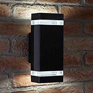 Auraglow Indoor/Outdoor Double Up & Down Wall Light Cool White LED Bulbs Included (Black)
