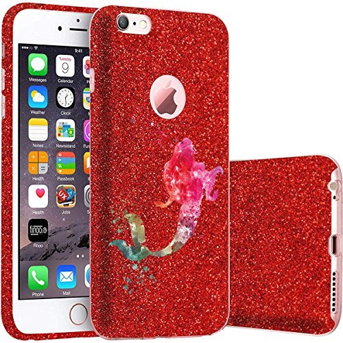 finoo | iPhone 5 / 5S Rote bedruckte Rundum 3 in 1 Glitzer Bling Bling Handy-Hülle | Silikon Schutz-hülle + Glitzer + PP Hülle | Weicher TPU Bumper Case Cover | Queen Black Meerjungfrau