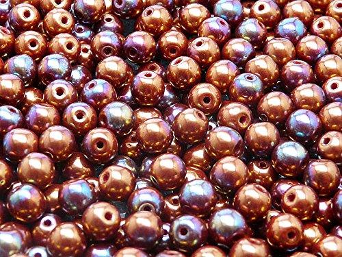 50pc Ceco tondo perle di vetro schiacciate, diametro 6 mm, Opaque Coral Red Vega Iris