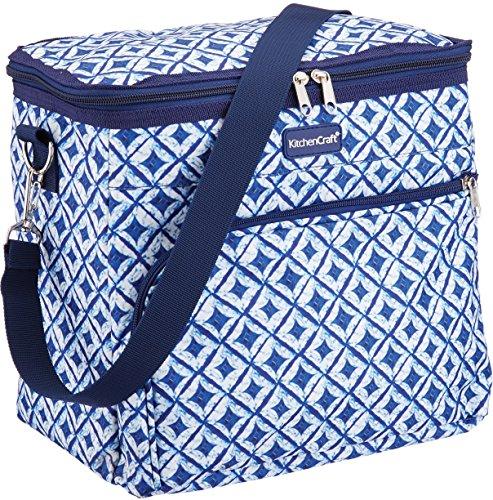 Kitchen Craft We Love Summer Mittelgroße Kühltasche Mit Fliesenmuster, Marineblau/Weiß, M -