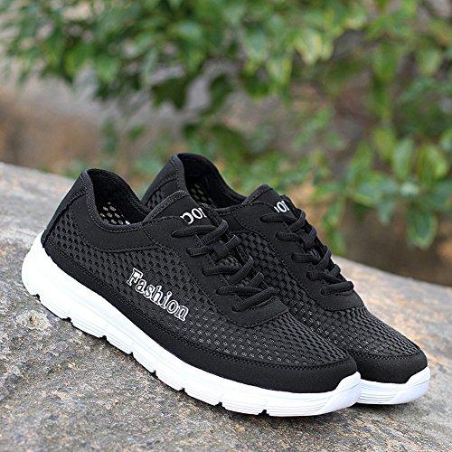 Chaussures de course pour homme Maillot respirant de grande taille Route légère Randonnée pédestre Voyage loisirs Sneaker Sport Sport de plein air Noir