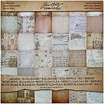 Idea-Ology Paper Stash Carta decorativa 12X12 36//Sheets-French Industrial