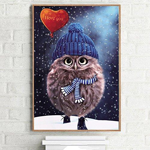Bastelset Mosaik Eule Winter Weihnachten Bild für Kinder und Erwachsene inkl. Zubehör 20x25cm