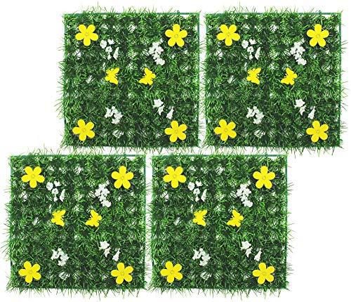 com-four® 4X Tapis d'herbe décoratif, Herbe Artificielle avec des Fleurs Dekomatte par Exemple pour la décoration du Printemps ou de Pâques, 25 x 25 cm (04 pièces - 25 cm)