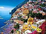 Colors of Rainbow Rainbow Schnecke, Positano, Amalfi-Küste, Italien-Ölgemälde auf Leinwand Modern Art Wand Bilder für Home Dekoration? 61x 91,4cm, rahmenlose