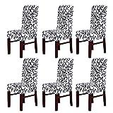 Confezione da 6coprisedia elasticizzati, lavabili e removibili per hotel, ristoranti, feste, sala da pranzo WhiteBlack