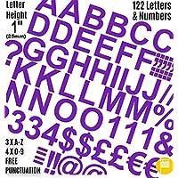 """Profesional juego de 122unidades x 1""""(2.5cm) autoadhesivo pegatinas de letras y números para morado libre signos de puntuación Washproof grandes letras SignWriting cualquier proyecto a prueba de agua"""