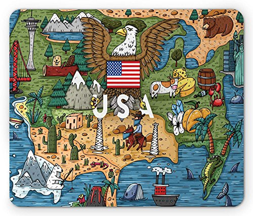 Pad, Cartoon Style Map of North America with Popular Attractions and a Bald Eagle, Standard Size Rectangle Non-Slip Rubber Mousepad, Multicolor ()