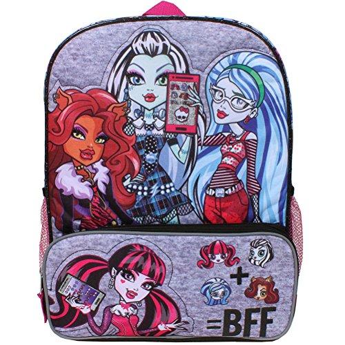 Accessory Innovations Monster High Y Clawdeen Wolf, Draculaura, Ghoulia Yelps und Frankie Stein 40,6cm Rucksack mit Mesh-Seitentaschen