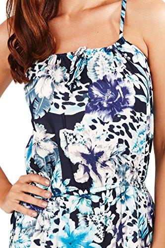 Pistachio Floral Femmes Et Impression Animal Court Robe Bretelle Bleu motif léopard/floral