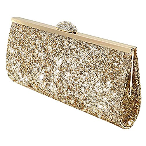 Wocharm Fashion Womens Glitter Clutch Bag Sparkly Silver Gold Black Evening Bridal Prom Party Handbag Purse (Gold)