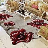 BAGEHUA maßgeschneiderte Türkei Teppich Schlafzimmer Bettwäsche Decke Wohnzimmer Couchtisch Sofa Blume Profilierte Teppich, 1600mmx2300mm, 8880A - Rot