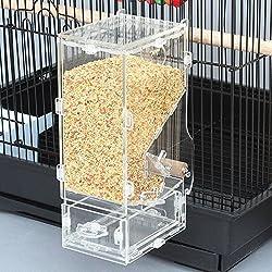 XMSSIT - Comedero de pájaros sin ensuciar integrado comedero automático con jaula accesorios para periquito, canario y porcelana