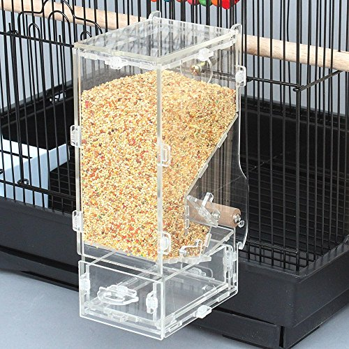 Keine Unordnung Futterhaus Parrot integrierter Futterautomat mit Sitzstange Käfig Zubehör für Wellensittich Kanarischen Finch Sittiche Nymphensittiche Samen Food Container (Käfige Reise-vogel Für Papageien)