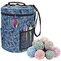 Mejor YARN BAG/Organizador para tejer. Portátil, ligera y fácil de transportar, disfruta de tejer y ganchillo en cualquier lugar. Bolsas con bolsillos para almacenamiento y ranuras en la parte superior para proteger la lana y evitar que se enrede azul