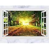 Skyllc® Vinilos decorativos Mural de la manera 3d Falso Ventana Green Forest desprendibles de la pared pegatinas pared del arte para la decoración casera