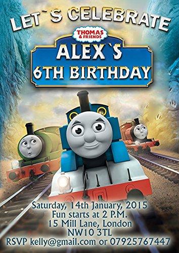 10x Il Trenino Thomas bambini festa di compleanno inviti o biglietti di ringraziamento