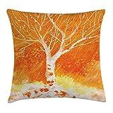 FAFANIQ Fall Tree Decor Throw Pillow Cushion Cover, Murky Original Hand Drawn Painting with Birches and Rain Drops Hazy Habitat, Decorative Square Accent Pillow Case, 18 X 18 Inches, Orange