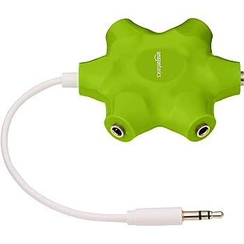 AmazonBasics Sdoppiatore per cuffie audio, con 5 prese, Verde lime