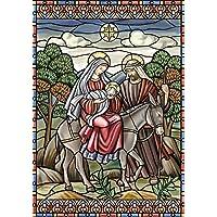 Toland Home Garden Stained Glass Nativity 28 x 40 Inch Decorative Jesus Mary Joseph Christmas Star House Flag - 109375