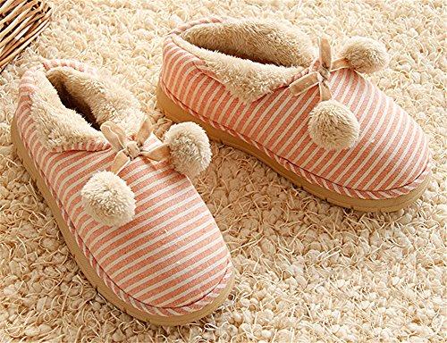 Auspicious beginning Pantofole da casa a righe in cotone caldo con cinturini in misto cotone e unisex Rosa
