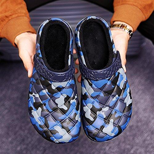 QLVY hommes doublés de pantoufles douces chaudes et confortables, camouflage domineering préféré Bleu