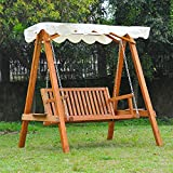 Outsunny 2 Seater Wooden Wood Garden Swing Chair Seat Hammock Bench Furniture Lounger Bed Wood...