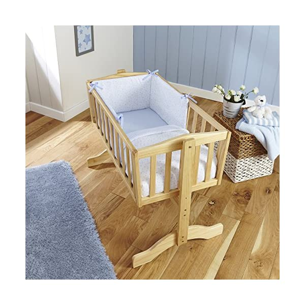 Clair de Lune Crib Set (Blue, Stars and Stripes, 2-Piece) Clair de Lune Featuring a subtle Stars and Stripes print this beautiful bedding set creates a relaxing sleeping area for your precious little one. Made from super soft 100% cotton. Comes complete with Stars and Stripes reversible padded bumper, and 2.5 tog coverlet. 2