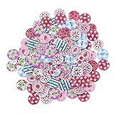 100 x runde Holz-Knöpfe zum Basteln, für Scrapbooking, Nähen, Karten, Basteln, Basteln, Rycnet