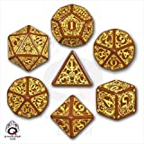 Q-workshop STE32 - Set di Dadi Steampunk, Colore: Marrone/Giallo, 7...