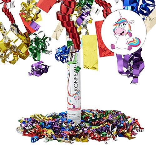 Relaxdays Party Popper 40 cm, Einhornglitter, 6-8m Effekthöhe, Hochzeit Geburtstag, Karneval, bunter Konfettiregen, bunt