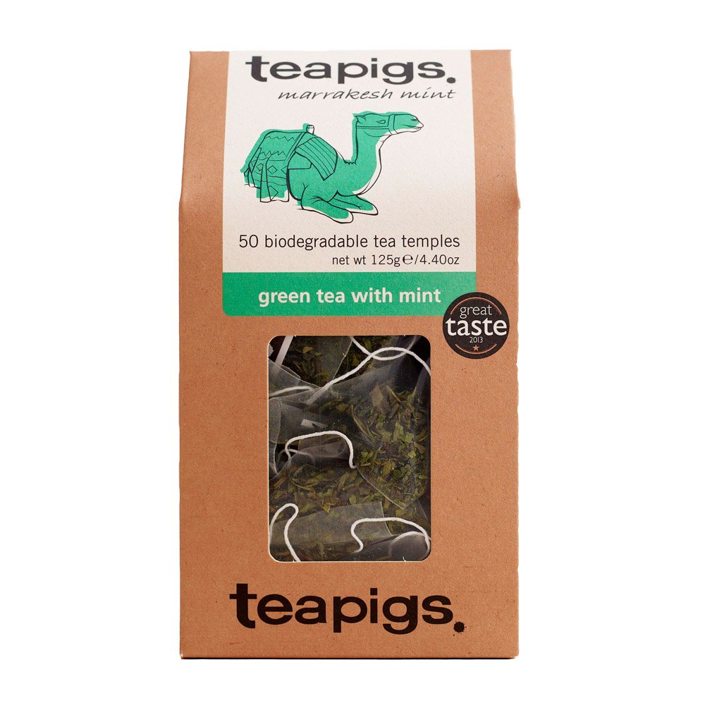 Teapigs green tea with mint tea (green tea) (50 bags) (a spicy tea with aromas of mint) (brews in 3 minutes)