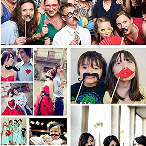 DAYLIN 56pcs DIY Photo Booth Props Moustaches On A Stick For Halloween Wedding Party